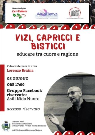 Conferenza online del Dott. Lorenzo Braina sul tema 'Vizi, Capricci, Bisticci. Educare tra cuore e ragione'